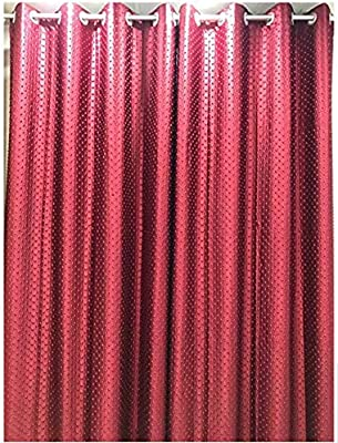 Indian Furnishing Dotted Punching 2 Piece Eyelet Polyester Window Curtain Set- Red (4x7)