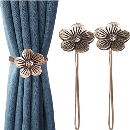 Byher Magnetic Curtain Tiebacks, 2Pcs Vintage Flower Curtain Holder Drapery Tiebacks with Upgraded Magnet for Room (Decorative Curtain Holdback)