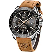 BENYAR - Stylish Wrist Watch for Men, Genuine Leather Strap Watches, Perfect Quartz Movement, Waterproof and Scratch Resistant, Analog Chronograph Business Watches, Best Mens Gift.