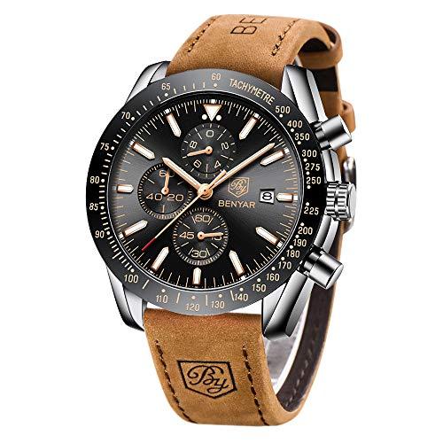 BENYAR Orologio Cronografo da Uomo Movimento al Quarzo Moda Sportivo Business 30M impermeabile Elegante Regalo per Uomo