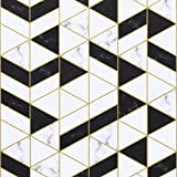 """17.7""""x78.7"""" Geometry Wallpaper Peel and Stick Wallpaper Self Adhesive Wallpaper Removable Wallaper Black and White Wallpaper Thick Upgrade Textured Wallpaper for Brdroom Living Room Wall Decor Roll"""