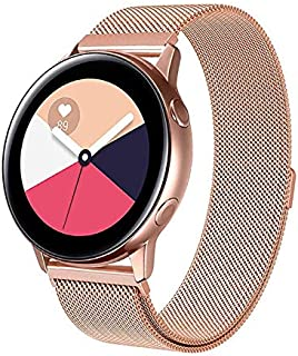 Compatible With Galaxy Watch Active 40mm Straps/Galaxy Watch 42mm Strap, 20mm Metal Stainless Steel Mesh Loop Magnet Wrist...