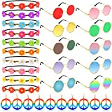 TUPARKA 30PCS Hippie Glasses Headband Costume Accessory Set Includes Multicolor Daisy Flower Headbands,Round Hippie Sunglasses and Peace Sign Necklaces for Hippie Party Supplies