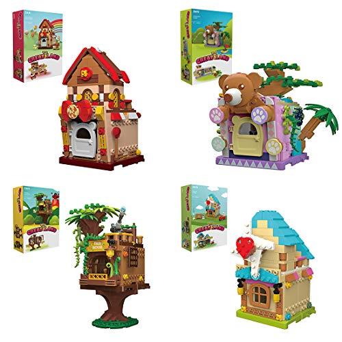 YOU339 4 minimuñequeras plegables, 966 unidades, bloques de construcción DIY para casa de viento, Jungle Candy Forest Tree House Bricks Toys, Toys for on The Go, Collectible