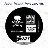 Vinilo Adhesivo Calavera Pegatina Sticker Distintivo Ambiental Coche VEHICULO TOXICO JDT para Pegar por Dentro