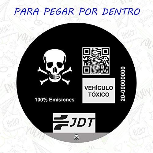 Vinilo Adhesivo Calavera Pegatina Sticker Distintivo Ambiental Coche VEHICULO TOXICO JDT para...