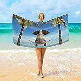 BAOYUAN0toalla de Playa Doble 3D Elefante Hamaca Mar Palmera Toalla de baño Viaje Suave para el hogar, la y la natación 100*200cm Manta de Picnic Toallas de SPA