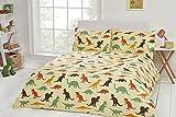 Novelty Luxury Kids Childrens 100% Cotton Duvet Cover Bedding 200 Thread Count (Single 138x198cm + 1 Pillowcase 45x75cm, Dinosaur)
