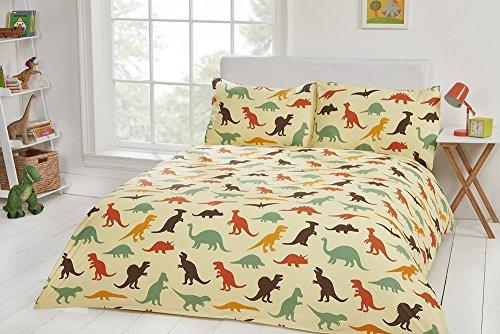 Lenzuola e copripiumini per bambini in 100% cotone a 200fili, di alta qualità, Cotone, Dinosaur, King 230x220cm + 2 Pillowcases 45x75cm