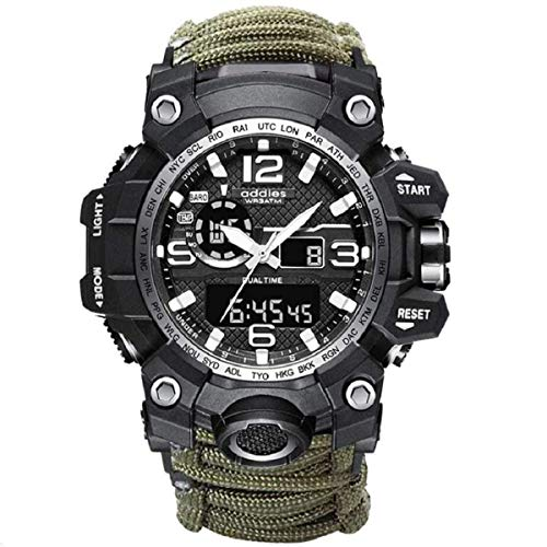 wejie Outdoor Survival Kits,2021 Men and Women Digital Outdoor Sports Watch,6-in-1 Waterproof Emergency Survival Watches with Paracord,Whistle,Fire Starter,Scraper,Compass and Survival Gear (Green)