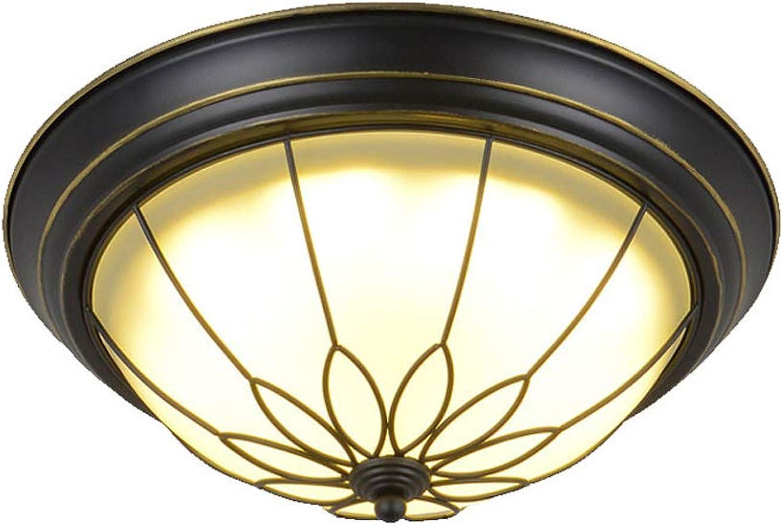 Runde Deckenleuchte Vintage Schwarz LED Glas Deckenleuchte Amerikanischen Land Balkon Licht Foyer Korridor Deckenleuchte (Größe   S)