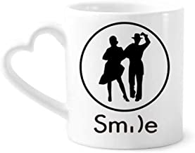cold master DIY lab Duet Dance Sports Performance Dancer Smile Pattern Mug Cup Pottery Heart Handle