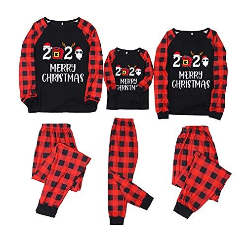 2021 Pijamas de Navidad Familia Conjunto Invierno Pantalon y Top Pijamas Mujer Hombre Impresión a cuadros Manga Larga Ropa de Dormir 2 Piezas Niños Niña Bebés Mamá Papá Romper Homewear