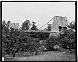 Historic Photograph of Old chain bridge, Newburyport, Mass., first suspension bridge in America | Detroit Publishing Co. , copyright claimant Detroit Publishing Co. , publisher | Date: c1900 | Photograph created using professional Kodak equipment & p...