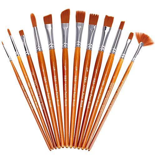 H&S Paint Brushes Set 12pcs Professional Artist Paint Brush Flat Round Tip for Acrylic Watercolor Oil Painting