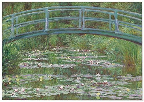 Panorama Póster Claude Monet El Puente Japonés 70x50 cm - Impreso en Papel de 250gr - Póster Pared - Láminas para Enmarcar - Cuadros Decoración Salón - Pósters Decorativos - Cuadros Modernos