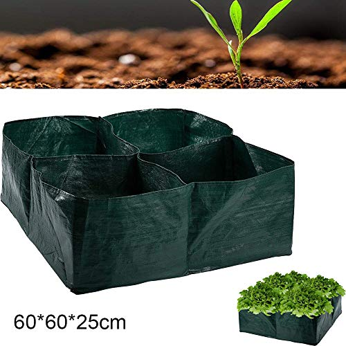 MZY1188 4 Grow Bag, Divided Grids Garden Planting Container, Herb Flower Vegetable Planting Grow Bag Planter Bed