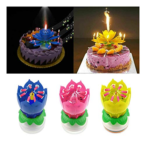 PETSBURG 1 Pack Amazing Opening Lotus Flower Musical Birthday Candles,8 Candle Romantic Happy Birthday Music Play Lotus Candle Magic Musical Candle Flower Special for Birthday