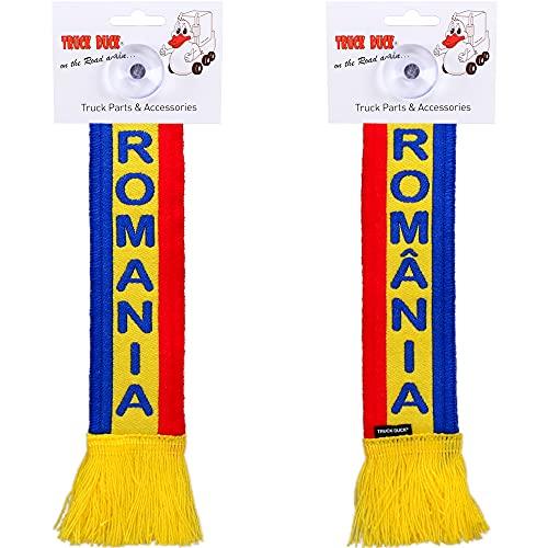 TRUCK DUCK® LKW Auto Minischal Romania Rumänien Mini Schal Wimpel Flagge Fahne Saugnapf Spiegel Deko
