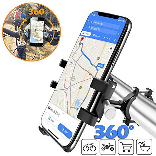Fahrrad Handyhalterung, Metall-Handyhalterung für Fahrrad/Mountainbike/Motorrad,Unterstützung 360 ° Bildschirm drehen Kompatibel mit iPhone, Samsung, Huawei, Google, etc.4 bis 8