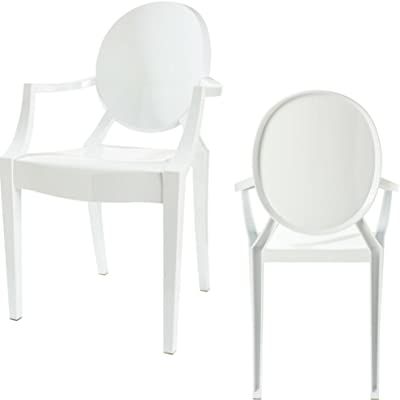 White Stackable Chairs Acrylic Chair With Arms Set Of 2 For Vanity Arm Chair Indoor Or Outdoor Use Stackable UV Protected Modern Living Room Contemporary Durable Polycarbonate & eBook By NAKSHOP