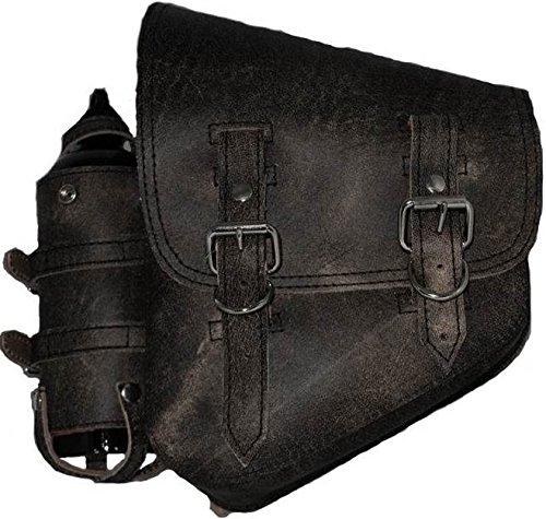 La Rosa design H-D All SOFTAIL Models Left Side Solo Saddle Bag SWINGARM Bag Rustic Black W/Spare Fuel Bottle Holder