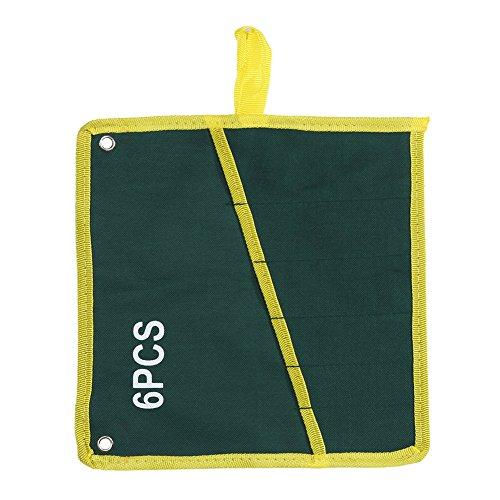 キャンバス スパナ レンチ 工具収納バッグ ツール袋 ポケット付き グリーン 耐久性 収納袋 ツールロール ロールアップ 作業道具 収納 省スペース (6)