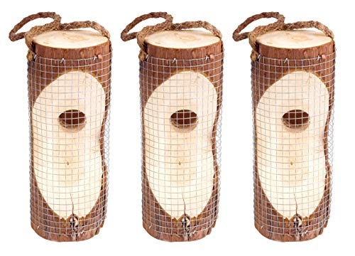 Gardigo Vogelfutterspender 3er Set I Futterstation aus FSC Holz für Wildvögel I Futtersäule zum Aufhängen