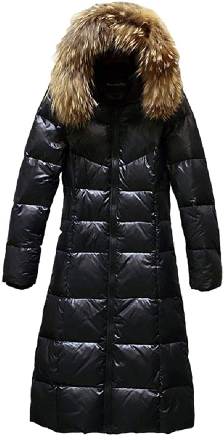 Aehoor Fur Collar Down Jacket Female Long Section of Thickening Jackets90% Duck Down