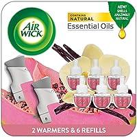 Air Wick Plug in Scented Oil Starter Kit, 2 Warmers + 6 Refills, Vanilla & Pink Papaya, Essential Oils, 8 Count