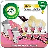 Air Wick Plug in Scented Starter Kit, 2 Warmers + 6 Refills, Vanilla & Pink Papaya, Essential Oils, 8 Count