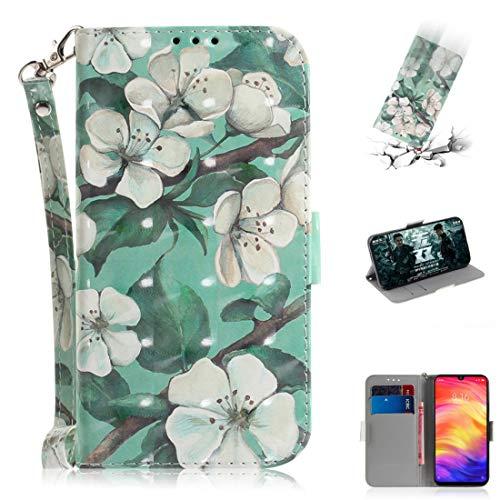CCMA AYSMG 3D gekleurde tekening horizontale lederen doos met houder & Card Slots & portemonnee voor Huawei P30 Lite (Vererder Beer), Watercolor Flower
