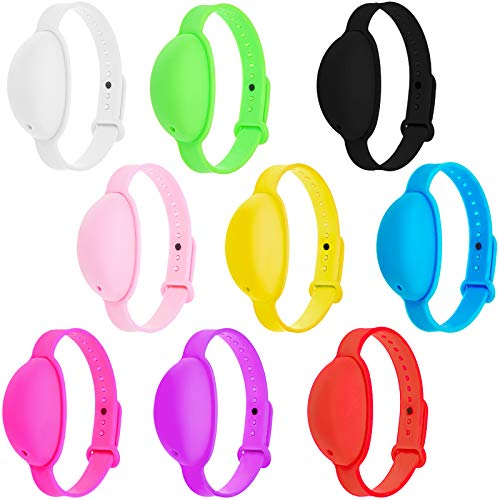 9 Pulseras Dispensadoras de Desinfectante de Manos Reloj Dispensador de Líquido de Mano Impermeable Muñequera Recargable de Silicona Ajustable para Niños Adultos Viajes, 9 Colores