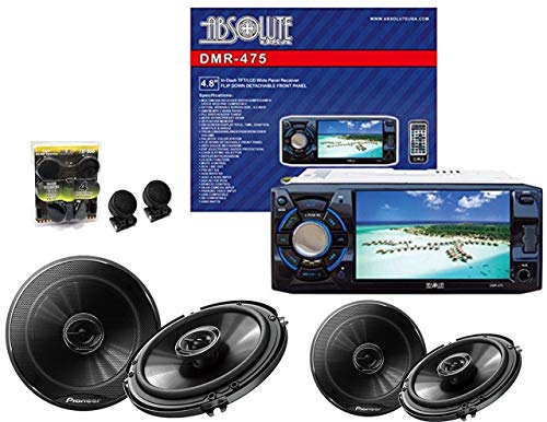 Absolute USA DMR-475 4.8-Inch DVD/MP3/CD Multimedia Player Widescreen Receiver with 2 Pairs of Pioneer TS-G1645R 6.5 Speakers and Free Absolute TW600 Tweeter
