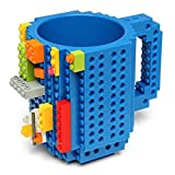 Carfard Build-on Brick Mug Novelty Creative 12 oz Coffee Cups Funny Tea Mug Beverage Pen Cup for Unique Christmas Gift Idea (Blue)