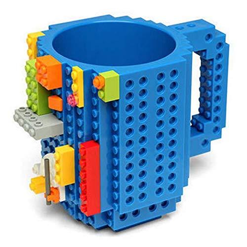 Carfard Build-on Brick Mug Novelty Creative 12 oz Coffee Cups Funny Tea Mug Beverage Pen Cup for Unique Christmas Gift Idea (Blue)