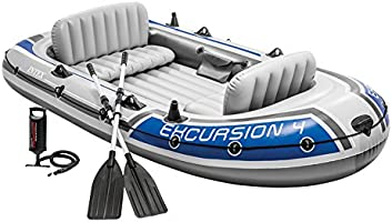 Intex Excursion 4 Set opblaasbare boot - 315 x 165 x 43 cm - 3-delig - Grijs / Blauw