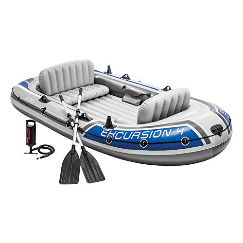 Intex Excursion 4 Set Schlauchboot - 315 x 165 x 43 cm - 3-teilig - Grau / Blau