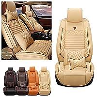 カーシートカバーAcura RDX CDX TLX ZDX TSX ILX RLX TL RL 前部座席用 2席 快適 全天候型ノンスリップ PUレザークッション ヘッドレスト付きベージュ