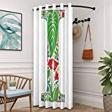 ScottDecor 84' W x 96' L(Single Panel) Letter I Full Light Blocking Drapes Privacy Protection Initial Letter Capital Nature Inspired Pattern Floral Swirl Blooms Leaves Colorful Multicolor
