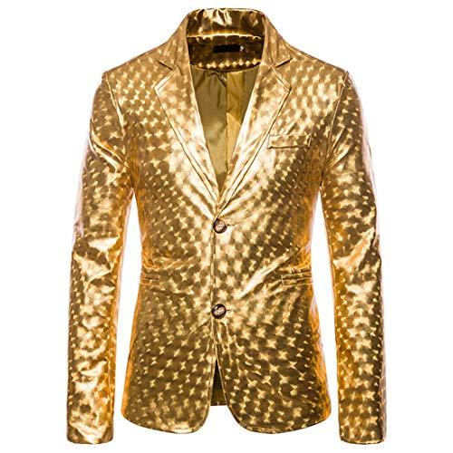 Herren Hemd Metallic Glänzend Freizeit Hemden Bronzing Slim Button Down Long Sleeves Dress Shirts 2020 Tops Glitzer Smoking Jacke Shiny Anzug für Nachtklub Hochzeit Partei XL