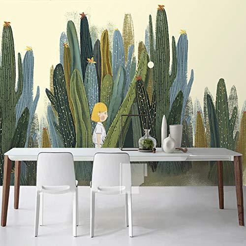 Muurschilderingen, Wallpaper,MuralCustom 3D Muurschilderingen Behang Handbeschilderde Cactus Plant Fotobehang voor Woonkamer Slaapkamer Achtergrond 350x245cm