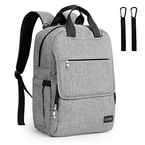 Baby Wickelrucksack Wickeltasche Multifunktional mit 2 Kinderwagen-haken Oxford Wasserdichte Große Kapazität Babytasche für Reise,Grau