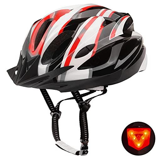 Shinmax Fahrradhelm,Fahrradhelm Herren Damen,Fahrradhelm mit Visor,Fahrradhelm für Erwachsene mit LED Rücklicht,Mountainbike Helm Skaterhelm BMX Fahradhelm Scooter Jungen mit Helmrucksack 56-62CM