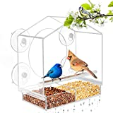 Window Bird Feeder - Bird House for Outside, Removable Sliding Tray, Best for Wild Birds, Clear Acrylic, Easy to Clean, Great Gift, See Songbirds from Home