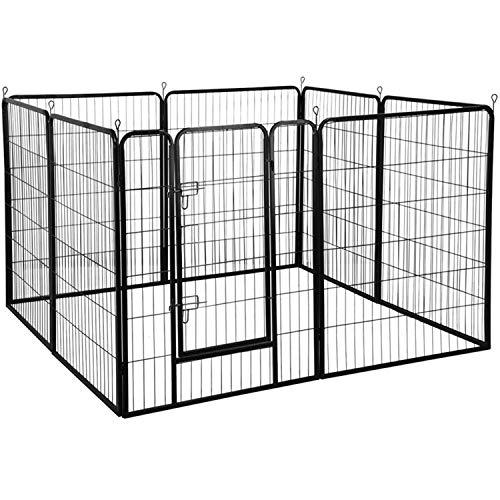 YAHEETECH 40-Inch 8 Panel Heavy Duty Pets Playpen Dog Exercise Pen Cat Fence with Door Puppy Rabbits Portable Play Pen,Outdoor/Indoor,Black