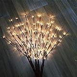 Uonlytech luces de rama led lámpara de ramas de árbol de ramita de sauce artificial para decoración de relleno de florero casero de interior y exterior de navidad (sin batería)