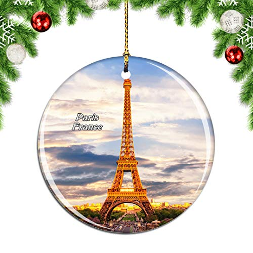 Weekino France Eiffel Tower Paris Christmas Xmas Tree Ornament Decoration Hanging Pendant Decor City Travel Souvenir Collection Double Sided Porcelain 2.85 Inch