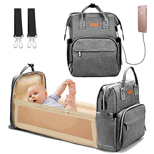 YOOFOSS Diaper Bag Backpack, Baby Nappy Changing Bags Multifunction Travel Back Pack with Changing Pad & Stroller Straps, Large Capacity, Waterproof and Stylish - Grey