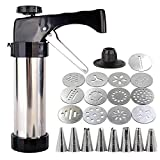 Cookie Press Gun, TEEPAO 13 Stainless Steel Disc Shapes Spritz Cookie Maker Kits And 8 Piping - Versatile, Reusable, For Christmas Party/Birthday Celebration/Anniversary Biscuit Decoration